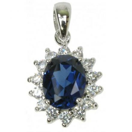 Sapphire Cubic Zirconia Pendant, Sterling Silver